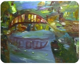The Bridge, Paintings, Impressionism, Landscape, Oil, By MD Meiser