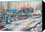The Bridge, Paintings, Abstract,Expressionism, Cityscape, Canvas,Oil, By Marcio Moreira