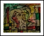 The Couple in Abstract 2, Paintings, Expressionism, Portrait, Pencil,Watercolor, By asm g ambia