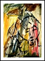 The Couple in Abstract 3, Paintings, Abstract, Portrait, Mixed, By asm g ambia