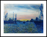 The Harbour Hamburg, Paintings, Expressionism, Composition, Canvas, Oil, Painting, By Berthold von Kamptz