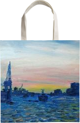 The Harbour Hamburg, Paintings, Expressionism, Composition, Canvas,Oil,Painting, By Berthold von Kamptz