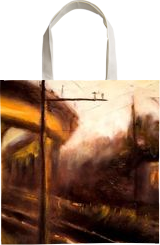 The last train, Paintings, Impressionism, Cityscape, Oil,Wood, By Angela Suto