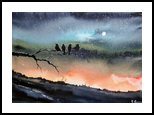 The Night Watchman, Paintings, Fine Art, Landscape, Watercolor, By james Allen lagasse