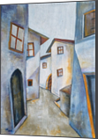 The old town, Paintings, Abstract, Cubism, Impressionism, Architecture, Cityscape, Composition, Acrylic, By Aniko Hencz