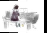 The Pianist, Drawings / Sketch, Fine Art, Music,People, Digital, By Arnvid Aakre
