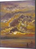 The Silver Linings, Paintings, Impressionism, Celestial / Space,Decorative,Inspirational,Nature,Seascape, Canvas,Oil, By Runa Bakshi