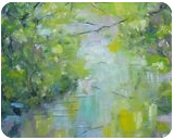 The spring and the river are talking about light, Paintings, Fine Art,Impressionism, Land Art,Landscape,Moving Images, Canvas,Oil, By Emilia Milcheva