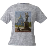 The Statue at the Civic Center, Paintings, Impressionism, Cityscape, Canvas,Oil, By Mason Mansung Kang