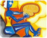 The Thinker, Paintings, Cubism, The Unconscious, Acrylic, By Curtis Dickman