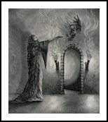 The Witch's Chamber, Drawings / Sketch,Illustration, Fine Art,Realism, Animals,Fantasy,Mythical,People, Pencil, By Rebecca Suzanne Magar