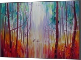 They Know - a semi abstract forest landscape with deer, Paintings, Expressionism, Landscape, Oil,Painting, By Gill Bustamante