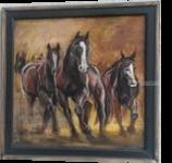 Three Horses, Sunset, Original Painting, Brown Running Stallions, Nature Animal, Original Art, Paintings, Fine Art,Realism, Animals,Nature, Gouache,Pencil, By Temenuzhka Pavlova