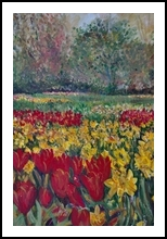 Tulip Fields, Paintings, Fine Art,Realism, Botanical,Floral, Acrylic,Canvas, By Matthew David Evans