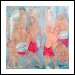 Turkish bath 2017year 40x40cm Original Painting Oil on Canvas2500$, Paintings, Expressionism, Erotic, Canvas, By ZAKIR AHMEDOV