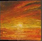 Twilight's Last Glow, Paintings, Abstract,Impressionism,Symbolism, Decorative,Landscape,Nature,Seascape,Spiritual, Canvas,Oil, By Runa Bakshi