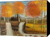 Twin Falls, Land Art,Paintings, Fine Art, Landscape, Canvas,Oil,Painting, By Lana karin Fultz