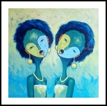 Twin sisters (in series), Paintings, Abstract, Figurative, Acrylic, By Ismail Olanrewaju Lawal