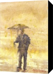 under umbrella, Paintings, Fine Art, Fantasy, Watercolor, By Eugene Gorbachenko