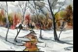 Up the Creek, Paintings, Fine Art, Landscape, Watercolor, By james Allen lagasse