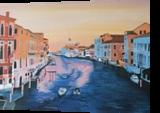 Venice while sunset, Paintings, Fine Art, Architecture,Cityscape, Canvas,Oil,Painting, By Claudia Luethi alias Abdelghafar