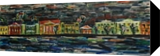 View from the island to the land, Paintings, Expressionism,Fine Art,Opticality,Primitive, Cityscape,Daily Life, Acrylic,Wood, By Kate Mikhatova