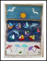 View From Our Beach, Assemblage, Impressionism, Seascape, Mixed, By Briz Conard