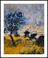 Village in Provence, Paintings, Expressionism, Landscape, Canvas, By Pol Henry Ledent