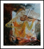 Violinist, Paintings, Impressionism, Music, Canvas, By Pol Henry Ledent
