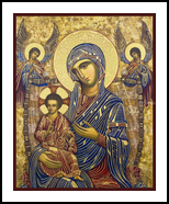Virgin and Child Icon, Paintings, Fine Art,Medievalism, Inspirational,Religious,Spiritual, Egg Tempera, By Ann C Chapin