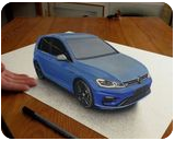 VW Golf car painted in 3D Anamorphic Optical Illusion, Illustration,Paintings, Photorealism,Realism, 3-D,Machnine Forms, Oil,Painting,Pencil, By Stefan Pabst