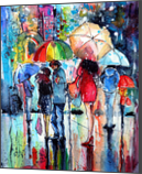 Waiting in the rain, Paintings, Impressionism, People, Watercolor, By Kovacs Anna Brigitta