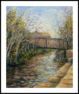 Walkway across the canal, Paintings, Impressionism, Landscape, Oil, By David Mather