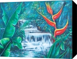 Waterfall, Paintings, Realism, Landscape, Canvas,Oil, By Marcio Franca Moreira