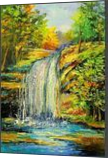 Waterfall in the forest, Paintings, Impressionism, Botanical,Land Art,Landscape,Nature, Canvas,Oil,Painting, By Olha   Vyacheslavovna Darchuk
