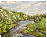 Westfield River-View from Bridge, Paintings, Impressionism,Realism, Landscape, Oil, By Richard Nowak