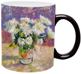 WHITE CHRYSANTHEMUMS, Paintings, Expressionism,Impressionism, Still Life, Oil,Painting, By Dima Braga