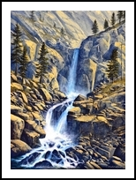 Wilderness Waterfall, Paintings, Realism, Landscape, Oil,Painting, By Frank S. Wilson