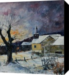 winter in Laforet, Paintings, Impressionism, Landscape, Canvas, By Pol Ledent