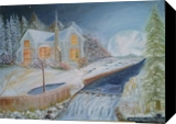 Winter Moon-Night, Paintings, Fine Art,Impressionism,Realism, Landscape, Canvas,Oil, By Mike Chaple