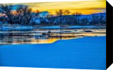 Winter River Sunset, Photography, Fine Art, Landscape, Photography: Stretched Canvas Print, By Jim Stewart
