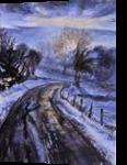 Winter route, Paintings, Fine Art, Landscape,Nature, Acrylic,Canvas, By Marta Kuźniar
