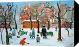 Winter Scene, Architecture,Paintings, Expressionism, Architecture,Children,Cityscape,Daily Life,Landscape,People, Acrylic,Mixed, By James Allan Kennedy