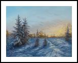 Winter sunset, Paintings, Realism,Romanticism, Landscape, Canvas,Oil, By Nataliya KyrkachAntonenko