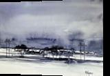 Winter Town, Paintings, Fine Art, Landscape, Painting,Watercolor, By james Allen lagasse