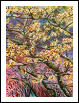 Witch Hazel, Paintings, Fine Art, Botanical,Floral,Nature, Acrylic,Canvas, By Marta Kuźniar