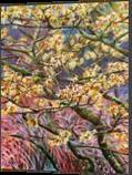 Witch Hazel, Paintings, Fine Art, Botanical,Floral,Nature, Acrylic,Canvas, By Marta Kuźniar