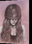 Woman in Helmet, Drawings / Sketch, Fine Art,Realism,Surrealism, Figurative,Portrait, Charcoal, By Tal Dvir