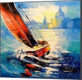 Yacht in the wind,, Paintings, Impressionism, Landscape,Moving Images, Canvas,Oil,Painting, By Olha   Vyacheslavovna Darchuk