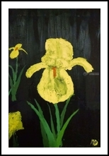 Yellow Iris, Paintings, Impressionism, Botanical, Oil, By MD Meiser
